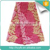 2016 New products african net lace fabric / fushia pink french beaded lace / embroidery fabric for party dress