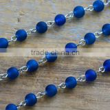 Glass Bead Chain Round Dark BLUE Bead Chain 6mm Glass Bead on Silver Wire Necklace Bracelet Chain Jewelry Making Supplies