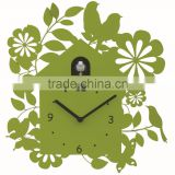 Green Forest Cuckoo Bird Wall Clock With Bird Come Out