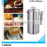 8 Cup Cafetiere Double Wall Stainless Steel French Coffee Press Plunger