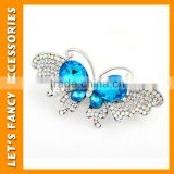 PGHD0339 MUB Best price korean gold crystal hair clips elegant metal butterfly crystal hair clip