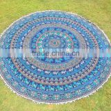 "72"" Indian Bohemian Hippie Mandala Roundie Tapestries Round With Pom-Pom Lace Wall Hanging Yoga Mat Table Cover Beach Throw"