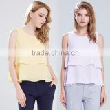 Women Sleeveless Tank Top Chiffon Blouse Double Layers Cami Vest OEM ODM Type Clothes Factory Manufacturer Guangzhou