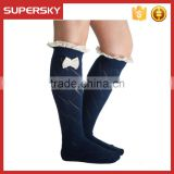 C04-2 Girl navy diamond open knit lace buttons boot socks with lacy bow fashion accessories custom made boot socks