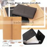 Waterproof Kraft Paper Cover PVC Pocket ID/Business Card Holder With Metal Button Closure