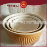 High quality ceramic mixing bowl two tone color glaze stoneware mixing stoneware embossed mixing bowl