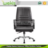 High density sponge genuine leather black pu handrails modern heated office chair with alloy foot