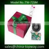 Light sensor activated sound module for gift box or greeting card