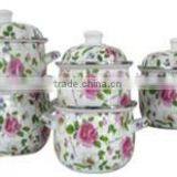 Beautiful Pink Flower Green Leaf Decal Enamel Cooking Pot set 5 pcs Enamel Cesserole Set