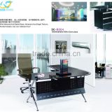 liansheng latest design luxury tempered black glass office desk with R-shape stainless steel base
