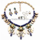 Fashion jewelry set -- bug wing shapped with dark blue stone and crystal