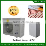 Poland -25C snow winter floor heating100~300sq meter room 12KW/19KW/35KW ,R407C,380V EVI Split best China heat pump cost