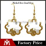Fashion 18k Gold Glass Stainless Steel Flower Locket Earrings Crystal Hook Jewelry for Women