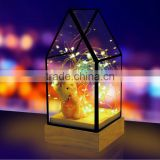Decorative Glass House Design Night Light, Wooden DIY Fireworks Silver Flower Beautiful Bedding Room Warm Light