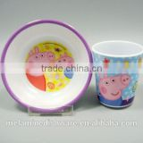 Food grade safety 100% melamine kid children dinnerware set/kid children dinner bowl and cup