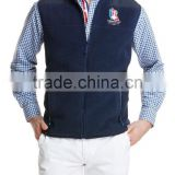Men's custom navy blue polyester fleece full zip up with embroidered logo on left chest with 2 side pockets fleece vest