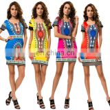 Sexy Women's Traditional African Print Dashiki Bodycon Dress Short Sleeve Dress Cotton Cetak Dashiki Dress