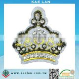 Custom embroidery crown badge with rhinestone
