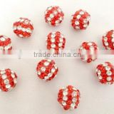 fashion colorful shamballa beads for bracelets findings stripe crystal red rhinestone pave beadings