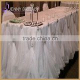 TC106B white table skirting designs with decorative buckles gathered table skirt                                                                         Quality Choice