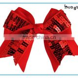 New arrival red glitter hair bows, girls handmade ribbon hair bows, children Christmas sparkle bow hair accessories