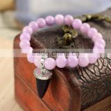 BRH0908Light Purple dyed jade beaded& goldstone point charm stretch bracelet
