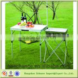 Carrying case style Folding picnic twin table with holder for outdoor camping or BBQ grill