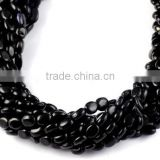 "5 Strands Black Hydro Stone Smooth 7x8-7x12mm Oval Drilled Beads Strand,12"" Long Strand,Jewelry Making Beads Strand"