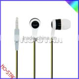 Smartphone Double Color Flat Cable Earphone with Answer Button and Mic Plastic Housing and Volume Control Optional