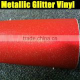 Newest type! 1.52x20M 5FT x 65FT Super Quality metallic glitter vinyl film red color