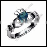 Blue Topaz artificial 14K white Gold Claddagh Ring
