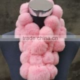 Adorable Design Rex Rabbit Fur scraf With Pompoms Short Hair Animal Fur Scarf With Fur Ball