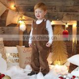 Boys Infant or Toddler Fall Brown Corduroy Longall Jon Jon Overall Appliqued