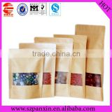 Transparent window zip lock kraft paper bags in bulk for dried food