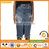 High Waist Tight Blue Knee Length Mature Women Wear Ripped Denim Jeans Hot Sale China Sexy Lady Skirts                                                                         Quality Choice