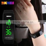 Popular 2016 skmei square dial Digital Jelly Silicone Bracelet LED Sports colored Wrist Watch                                                                         Quality Choice