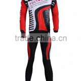 Men's Sublimation Print Biking Long Sleeve Jersey Sets Coolmax Pad Full Reflective Zipper