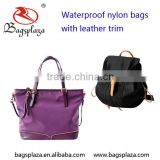 Alibaba China Elegant Purple Waterproof Shoulder Bags Fancy Mini Nylon Backpack With leather Trim