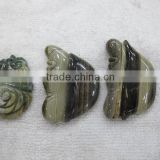 Zebra jasper profile face carving flower carving birds butterfly carving and other theme animal carving pendant charm