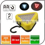 Portable triangle emergency work light wivel hook flexible magnetic 39 led work lamp