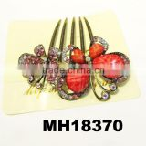antique glitter crystal butterfly metal spike hair comb wholesale