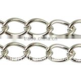 Iron Side Twist Chain, Lead Free & Nickel Free, Platinum Color, Chains: about 8x6x1.0mm(CH-DK1.0-P-FF)