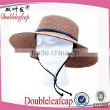 Summer Lady Wide Brim Braided Sun Hat with Wind Lanyard Sun UV Protection Straw Hat                                                                         Quality Choice