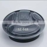 4-compartment round black plastic food container microwave safe and freezen with transparent lid