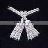 Hand embroidered bullion tassel blazer badge | Silver bullion hand embroidery badges and crests | Badges for jackets