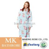 Light Blue Butterfly Printed Fleece Funky Woemn Sexy Dressing Gown                                                                         Quality Choice
