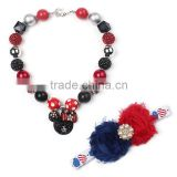 Custom Mickey Pendant Necklace Red And Blue Hairband Young Baby Girls Necklace And Hairband Set