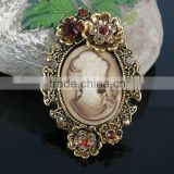 Wholesale Elegant Women Jewelry Antique Vintage Crystal Victorian Cameo Brooch Pin Pendant