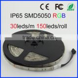 RGB led strip 5050 waterproof 150 leds/5 m tape de fita lampada luz smd 5050 smd 12V tiras de led para casa warm white blue