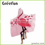 China Supplier Handmade Flamingo Hooded Towel Fun Kids' Hooded Towels for Beach, Bath or Pool Fashion Cutie Design Hooded Towel